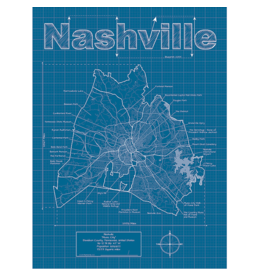 Prints Nashville Blueprint 18x24 Poster