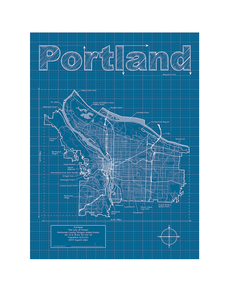 Prints Portland Blueprint 18x24 Poster