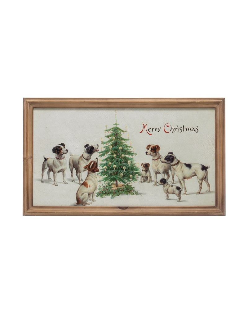 Wall Decor Vintage Repro Dogs Christmas Framed Decor
