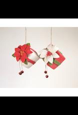 Ornaments Poinsettia & Bells Present Hanging Decor