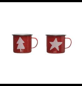 Enamelware Tree & Star Enamel Mugs