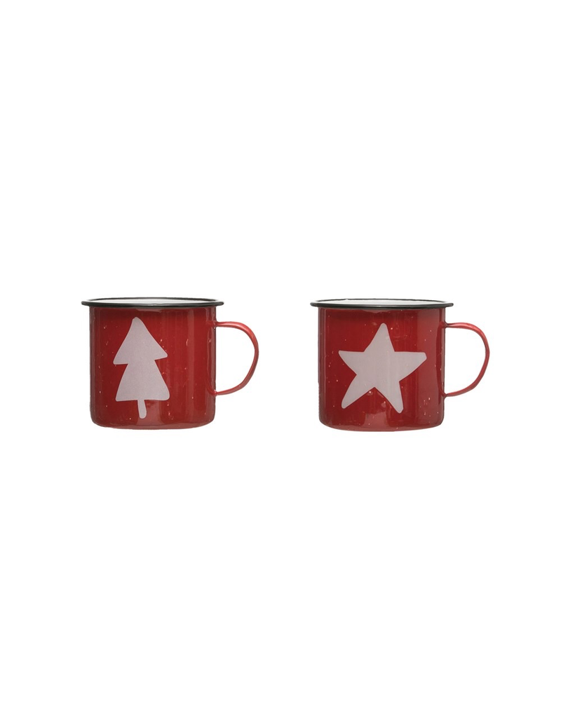 Enamelware Tree & Star Enamel Mugs