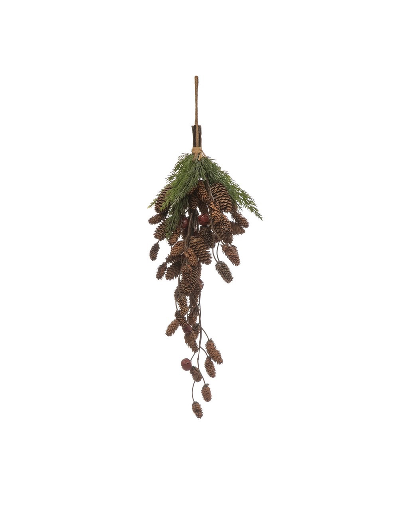 Accent Pinecone Cluster With Red Bells