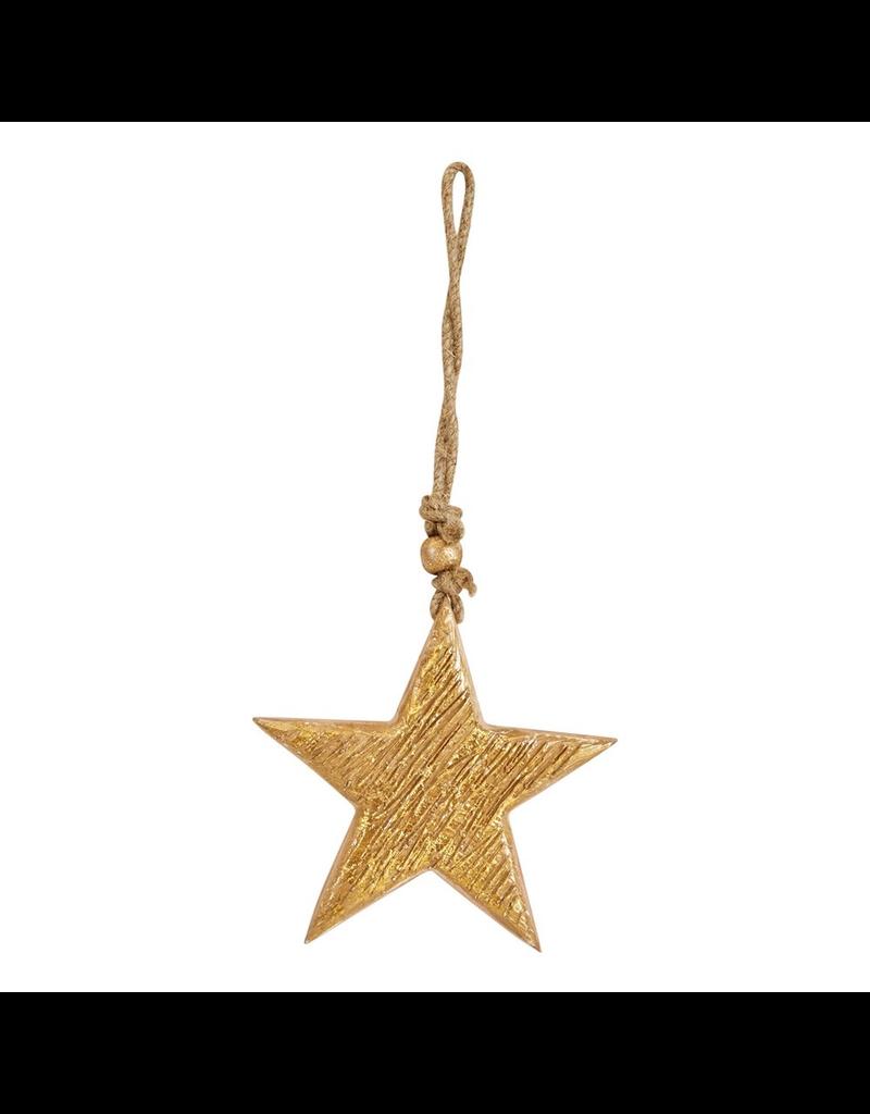 Ornaments Gold Wood Star Ornament