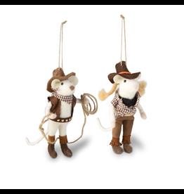 Ornaments - Felt Cowboy & Cowgirl Mice Ornaments