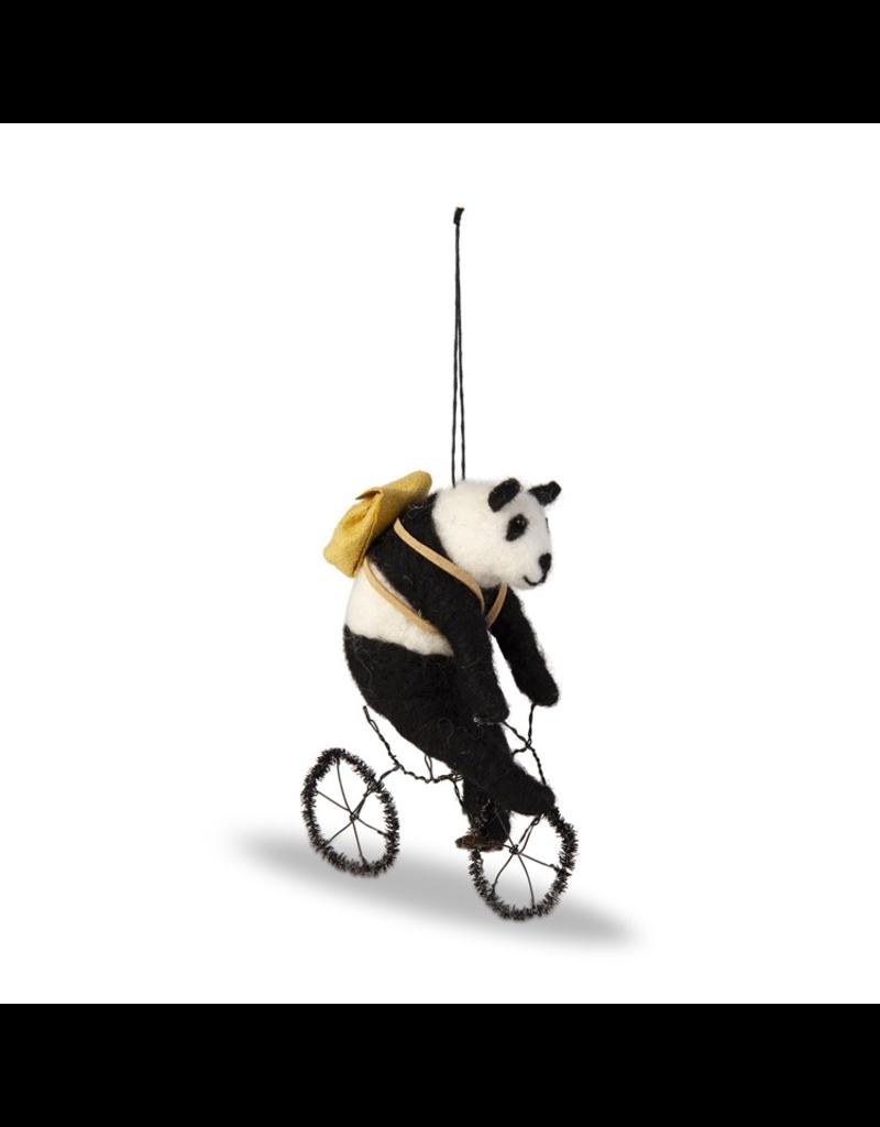Ornaments - Felt Bicycling Panda Ornament