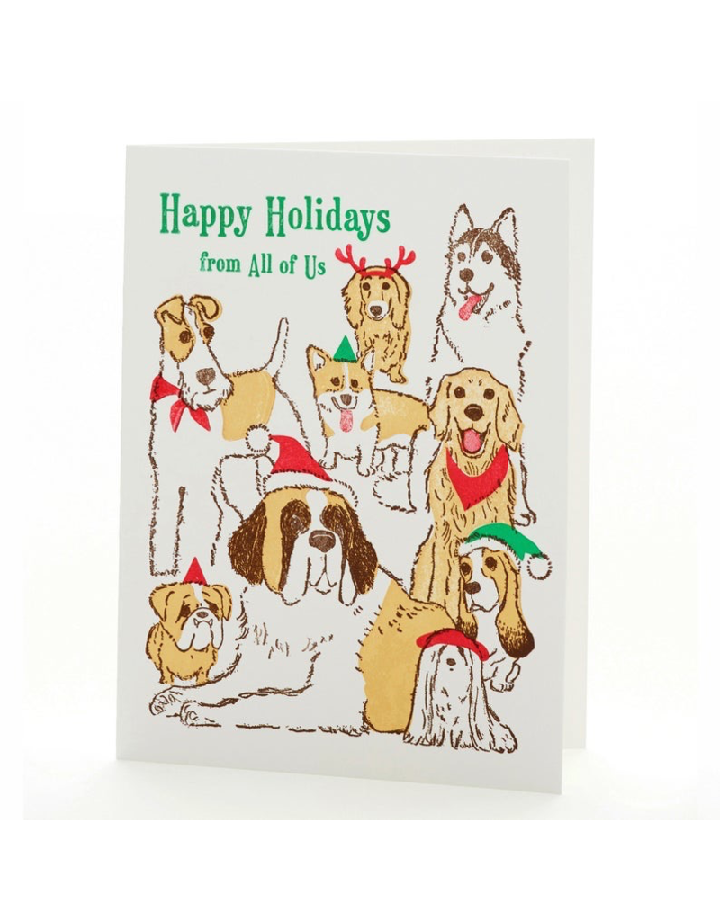 Greeting Cards - Christmas Holiday Dogs Single Card