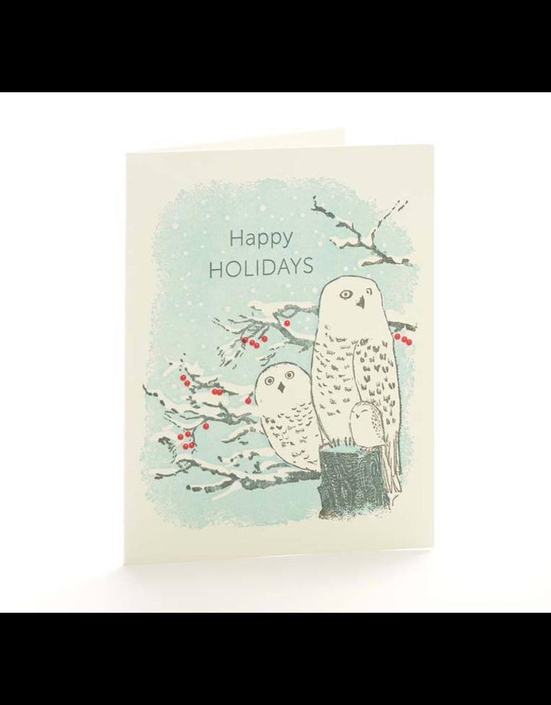 Greeting Cards - Christmas Snowy Owls Single Card