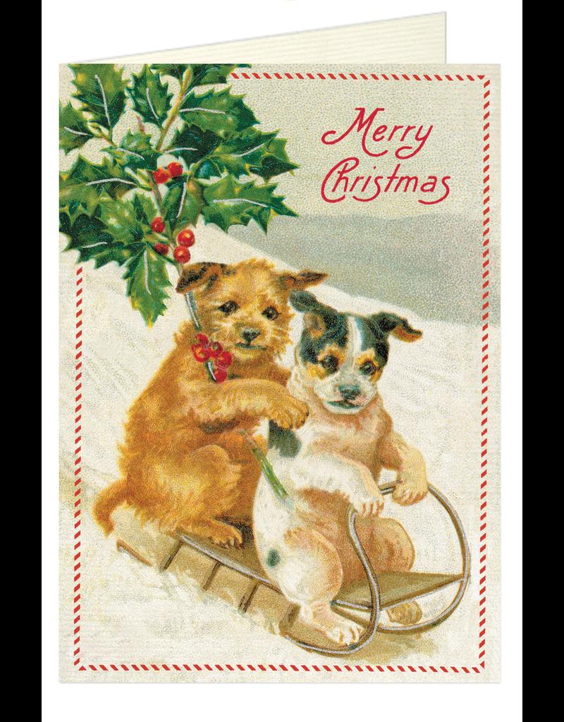 Greeting Cards Christmas Dog Sledding Single Card
