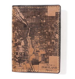 Leather Accessories Portland Map Passport Wallet