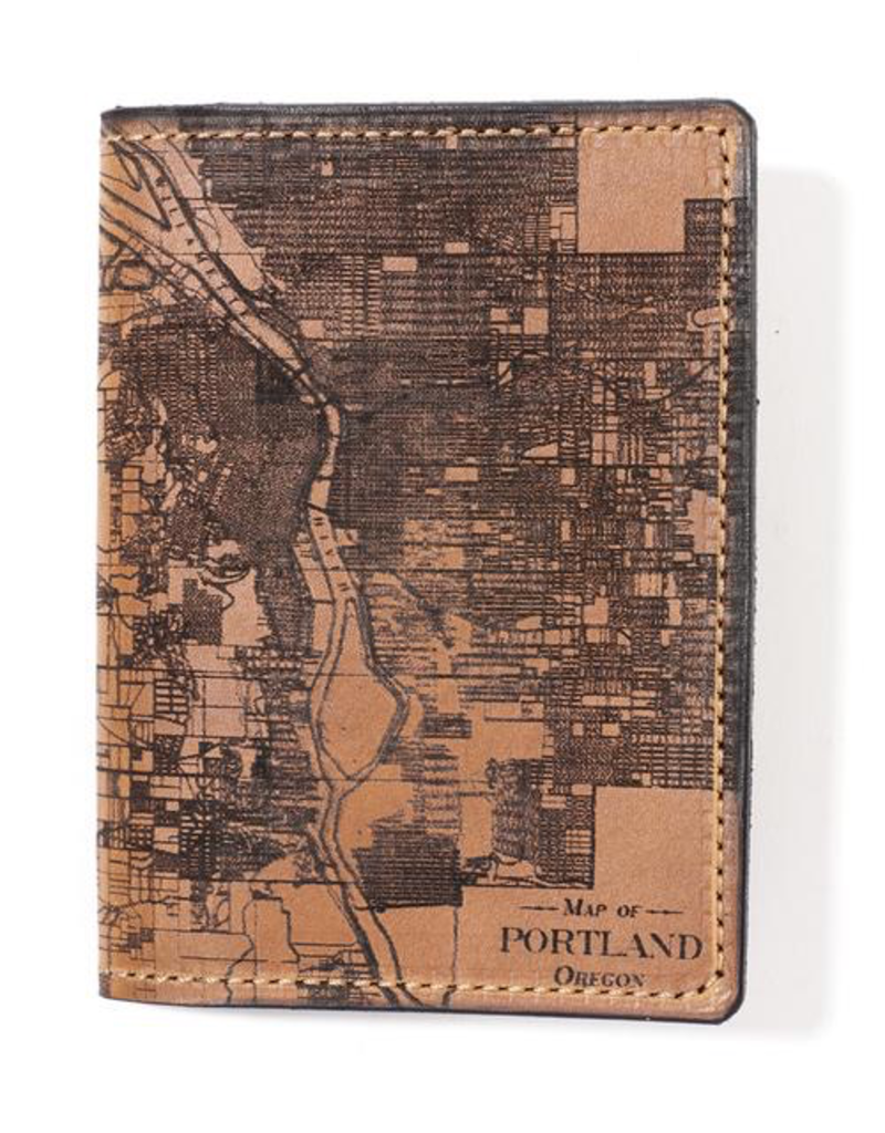 Leather Accessories Portland Map Passport Wallet
