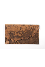 Leather Accessories Portland Map Leather Clutch