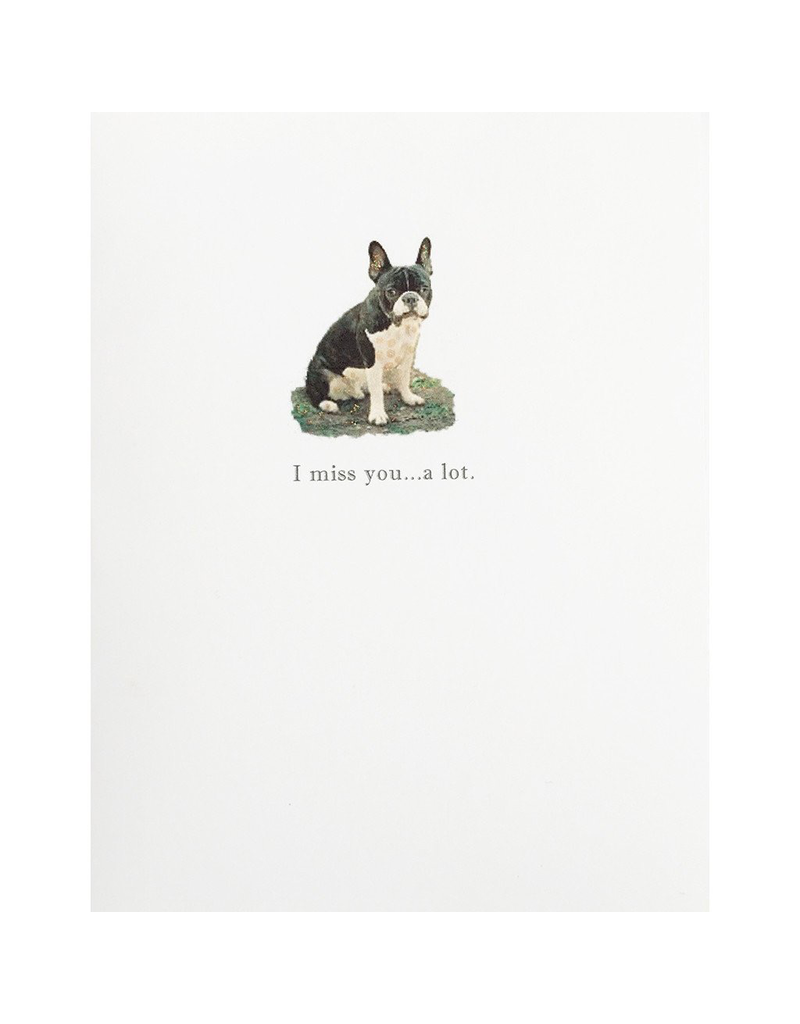 Greeting Cards - Friendship Miss You Bull Dog Greeting Card