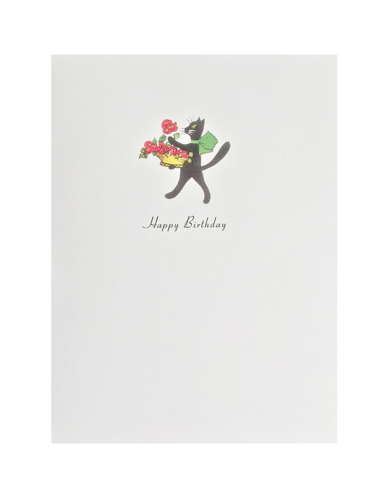 Greeting Cards - Birthday Cat With Roses Birthday Greeting Card