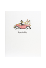 Greeting Cards - Birthday Cat In Car Birthday Greeting Card