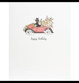 Greeting Cards - Birthday Cat In Car Birthday Greeting Card