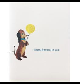 Greeting Cards - Birthday Dog Balloon Birthday Greeting Card