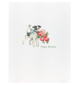 Greeting Cards - Birthday Doggie Roses Birthday Greeting Card