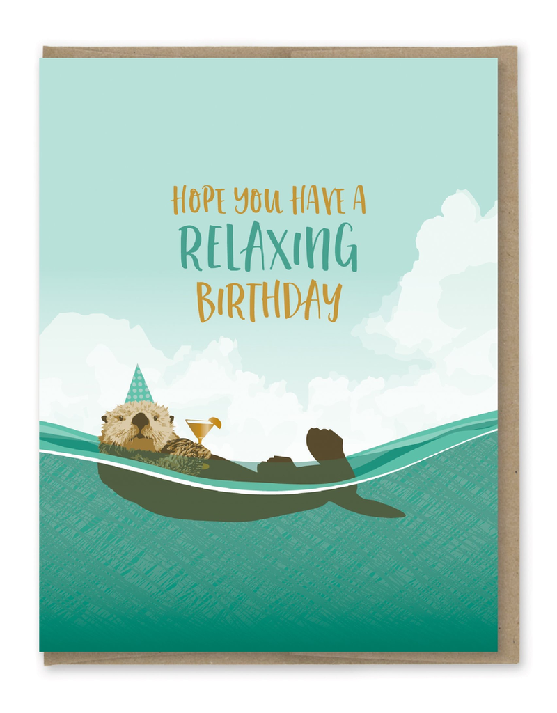 Greeting Cards - Birthday Relaxing Otter Birthday Greeting Card
