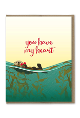Greeting Cards - Love You Have My Heart Otter Greeting Card