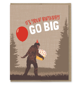 Greeting Cards - Birthday Go Big Sasquatch Birthday Greeting Card