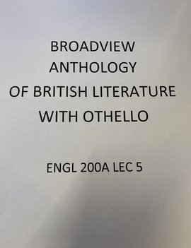 Broadview Anthology of British Literature w Othello Package