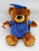 """Grad Bobby Bear with Blue Gown 12"""""""