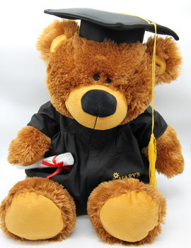 Grad Bobby Bear with Black Gown 20""