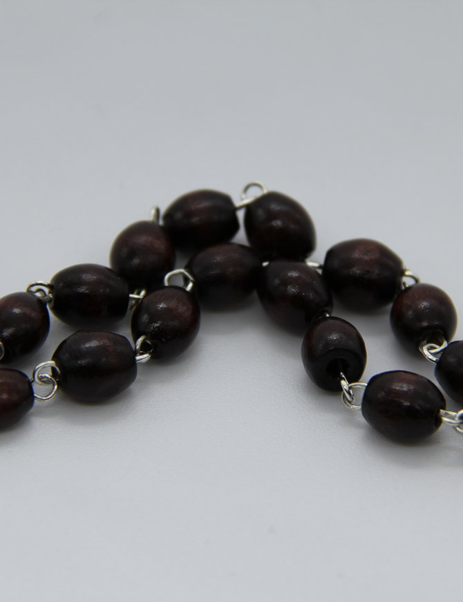 Rosary Maroone Oval Wood Bead 6mm