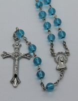 Rosary Aqua Glass Round 6mm