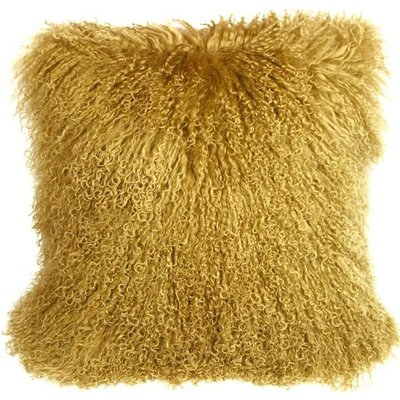 MONGOLIAN FUR CUSHION, GOLD