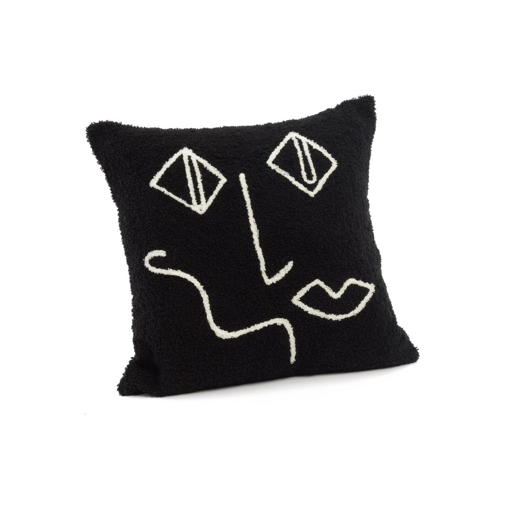 NORMAN EMBOSSED PILLOW, BLACK AND WHITE