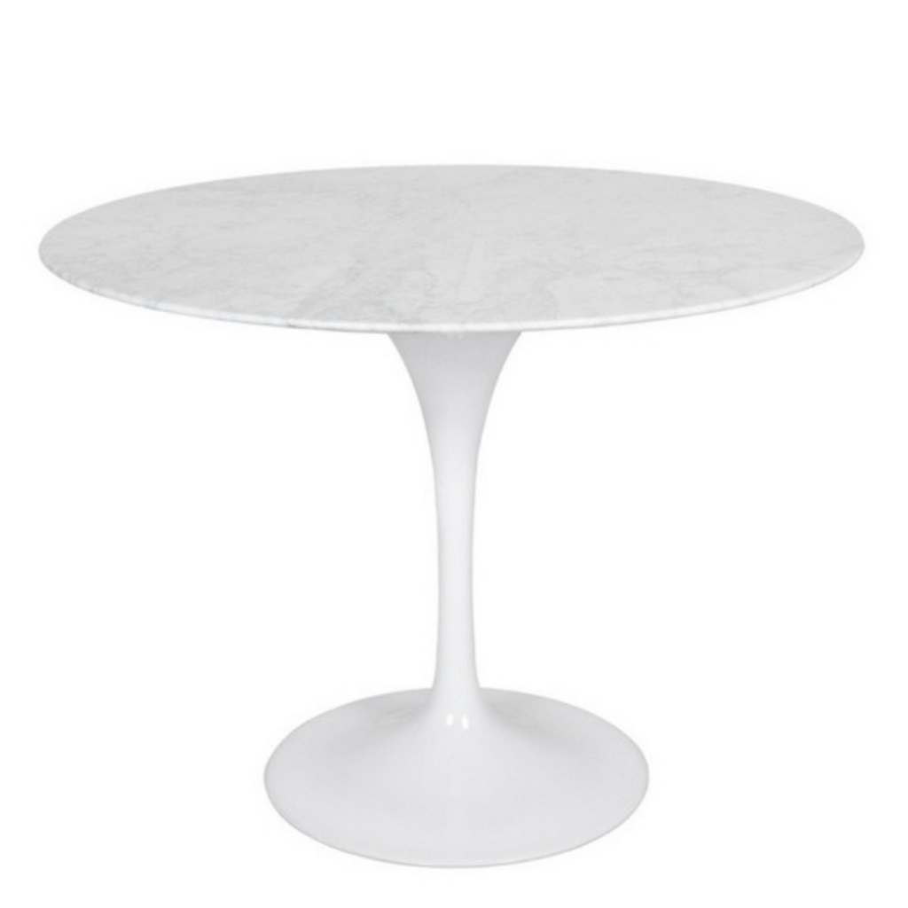 """Style in Form FLUTE TABLE, MARBLE TOP, ROUND 39.5"""", WHITE"""