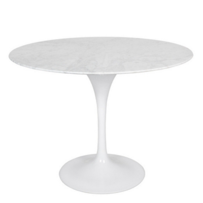 "Style in Form FLUTE TABLE, MARBLE TOP, ROUND 39.5"", WHITE"