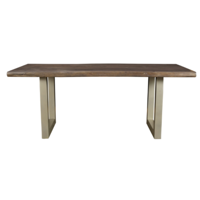 TAJ DINING TABLE, SOLID ACACIA WOOD AND METAL.