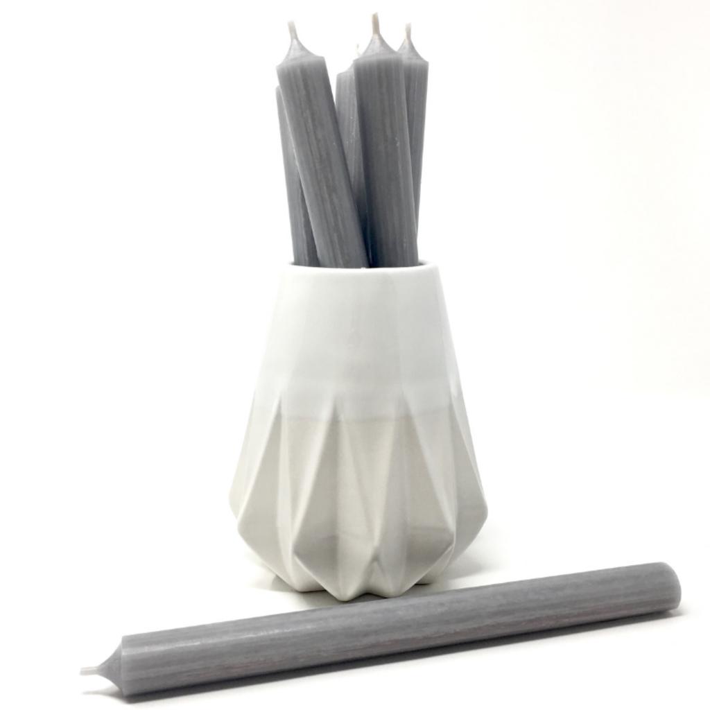 "GREY 10"" TAPER CANDLE"