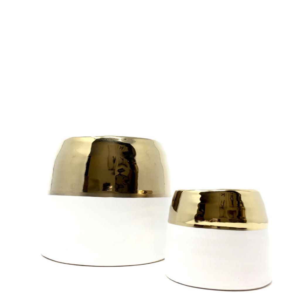 CLAIRE POT SMALL, WHITE/GOLD