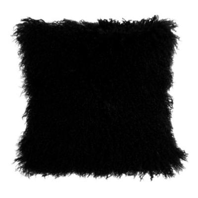 BLACK MONGOLIAN SHEEPSKIN PILLOW
