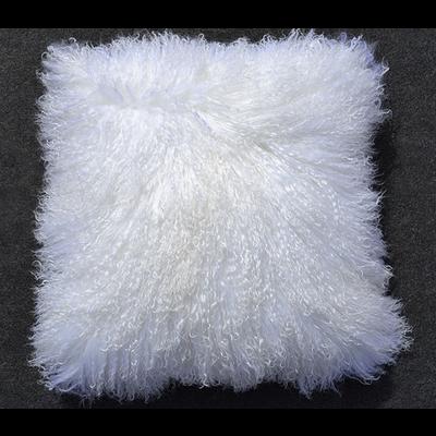 "MONGOLIAN SHEEPSKIN PILLOW, SNOW WHITE 18 X 18"""