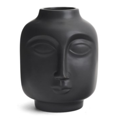 STEPHENS CERA FACE VASE, BLACK