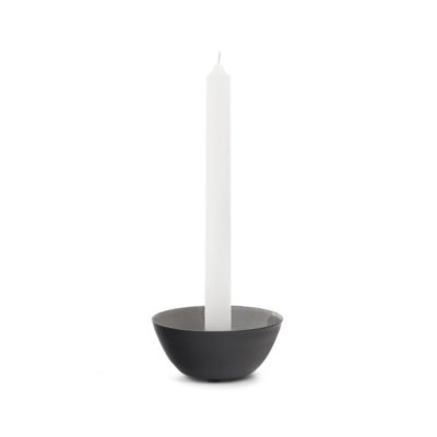 ROCHELLE CANDLE HOLDER, BLACK/TAUPE