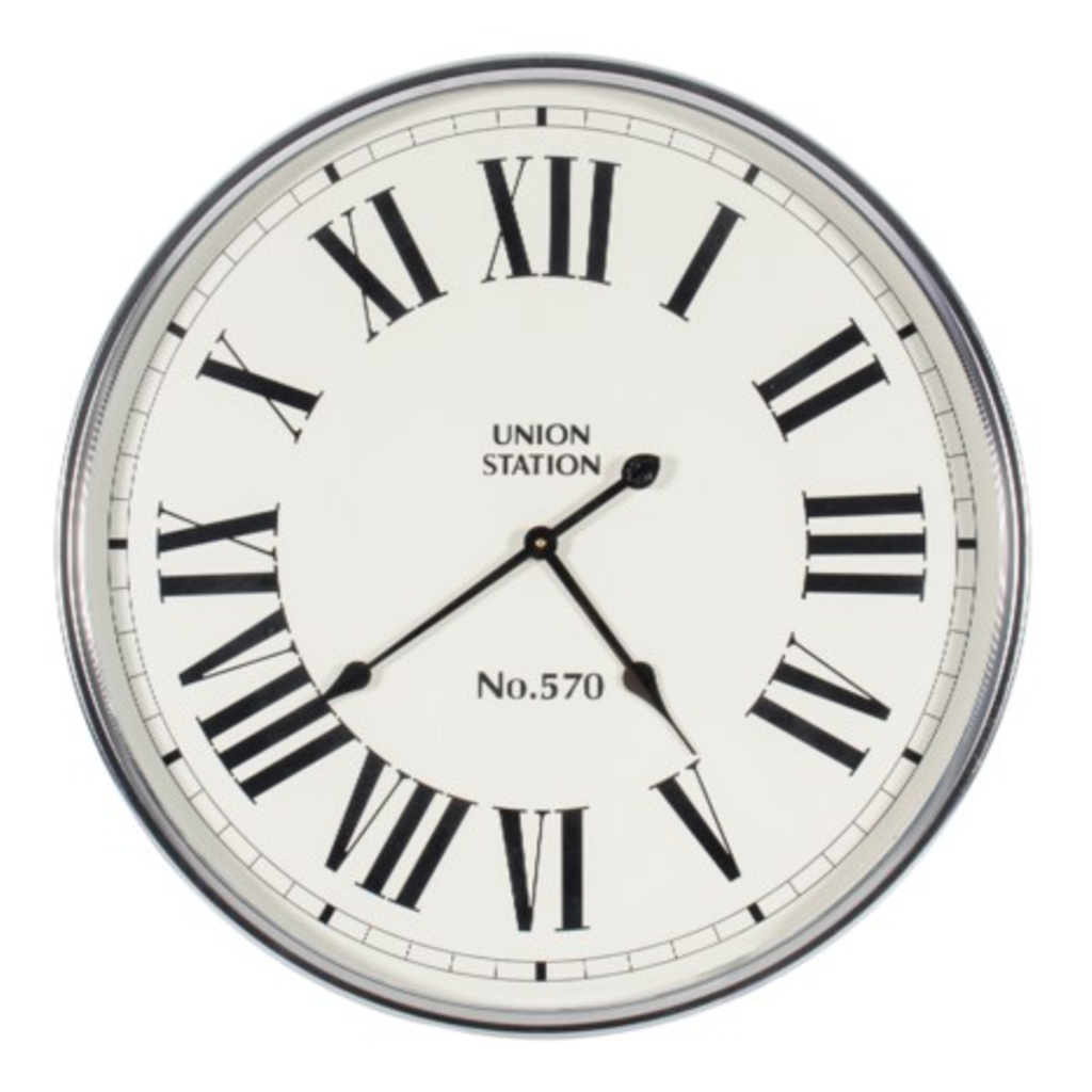 Canfloyd WALL CLOCK, SILVER AND WHITE