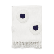 CHLOE WOVEN THROW, WHITE/NAVY