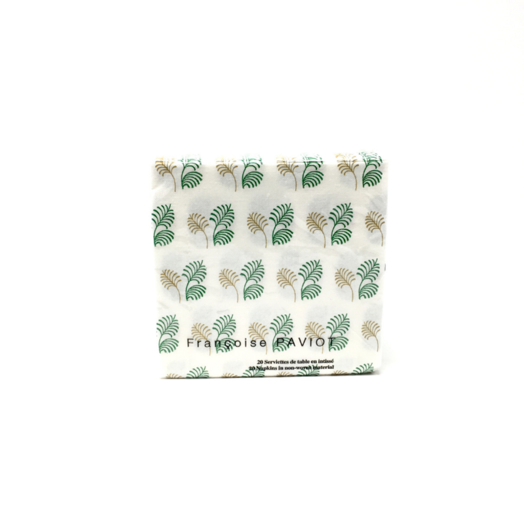 PAVIOT FEUILLE VERT ET OR, COCKTAIL NAPKINS
