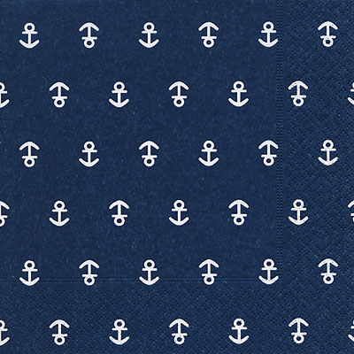 DARK BLUE ANCHOR NAPKINS, LUNCHEON