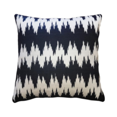 IKAT STRIPES BLACK/CREAM PILLOW 20 X 20""