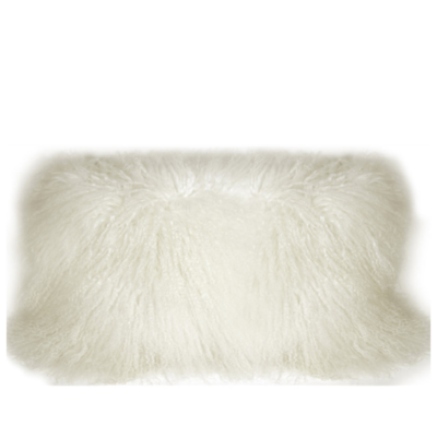 MONGOLIAN SHEEPSKIN PILLOW, SNOW WHITE 12 X 24""