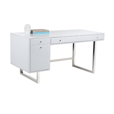 CAMDEN DESK, HIGH GLOSS WHITE, STAINLESS LEG