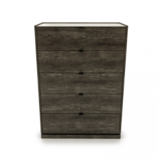 Huppe CLOE 5 DRAWER DRESSER, ANTHRACITE W/ CREAM LACQUERED TOP