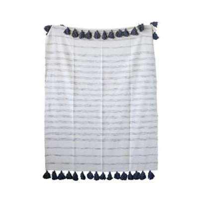 Creative Coop COTTON WOVEN STRIPED THROW W/ TASSELS, GREY